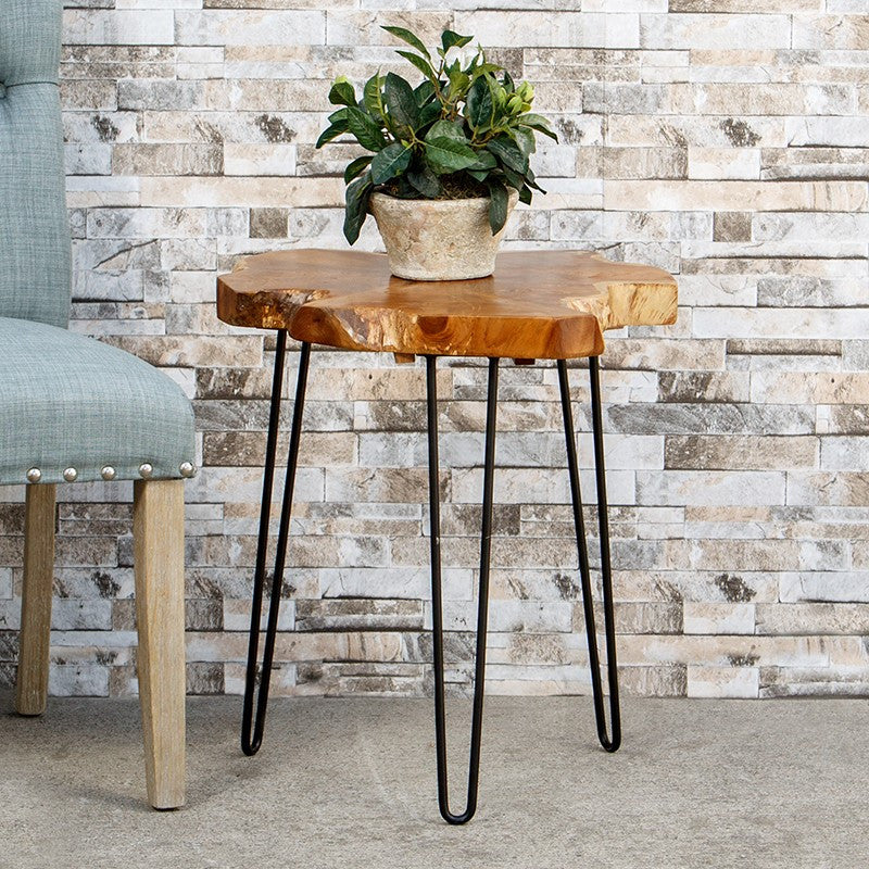Root End Table: Teak Root Slab End Table