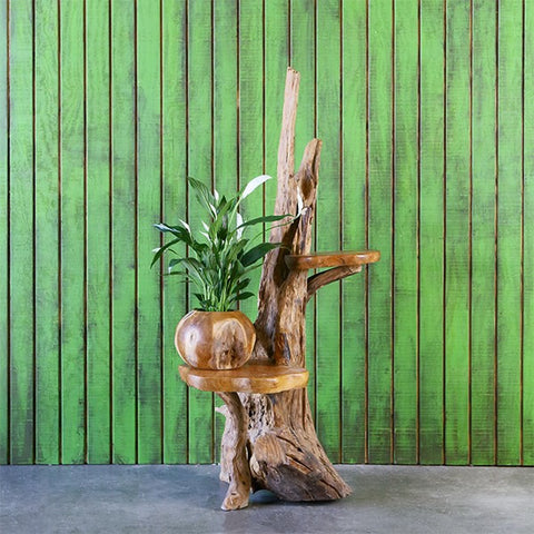 Harini Driftwood Stand with 2 Teak Shelves - Om Gallery