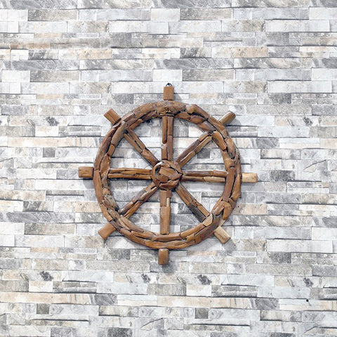 Harini Teak Driftwood Ship Wheel - Om Gallery
