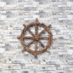 Teak Driftwood Ship Wheel