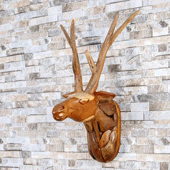 Teak Driftwood Deer Head