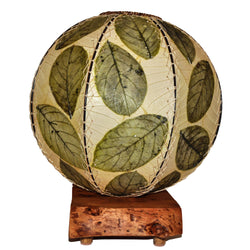 Jackfruit Leaf Orb Table Lamp, Green