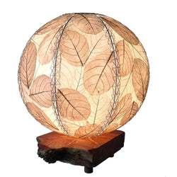 Jackfruit Leaf Orb Table Lamp, Natural
