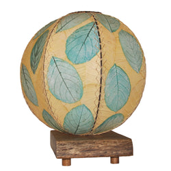Jackfruit Leaf Orb Table Lamp, Sea Blue