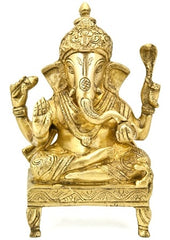 Lord Ganesh Sitting on Chair Brass Statue