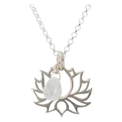 Lotus with Moonstone Briolette Necklace