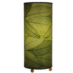 Cocoa Leaf Cylinder Table Lamp, Green