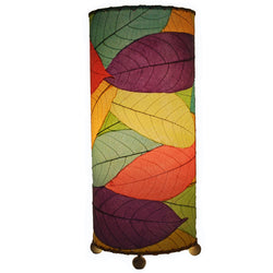 Cocoa Leaf Cylinder Table Lamp, Multi