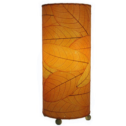 Cocoa Leaf Cylinder Table Lamp, Orange