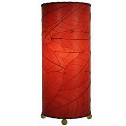 Cocoa Leaf Cylinder Table Lamp, Red