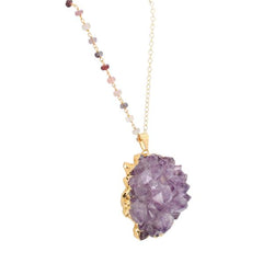 Amethyst Druzy Necklace on 28 Inch Spinel Gemstone Chain