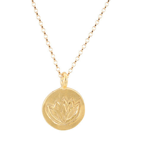 Round Stamped Lotus Necklace in 24k Gold Vermeil