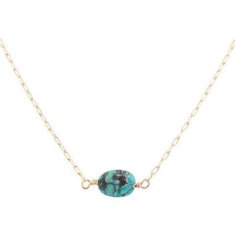Throat Chakra - Delicate Turquoise Gemstone Necklace in Gold Fill