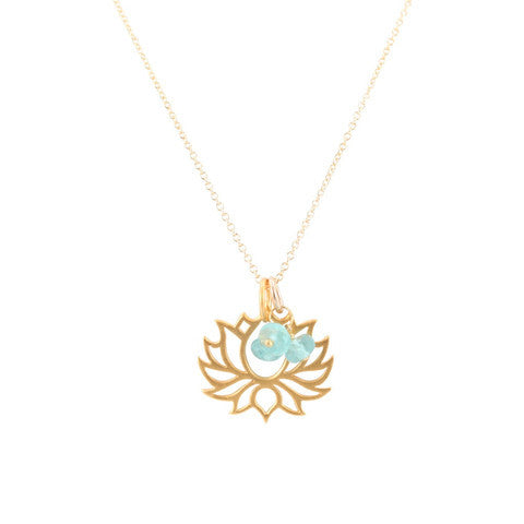 Gold Vermeil Lotus Necklace with Apatite Gems on Mini Rolo Chain - Om Gallery
