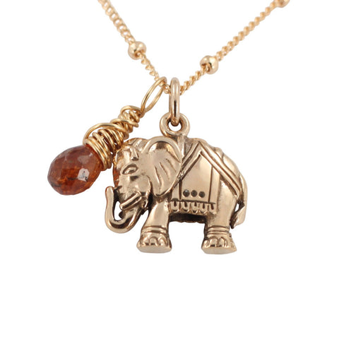 Elephant Charm Necklace with Sapphire Gemstone - Om Gallery