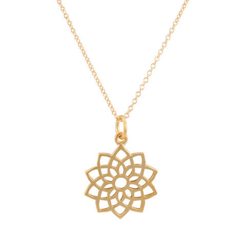 Crown Chakra Necklace in 24k Gold Plated Sterling Silver - Om Gallery