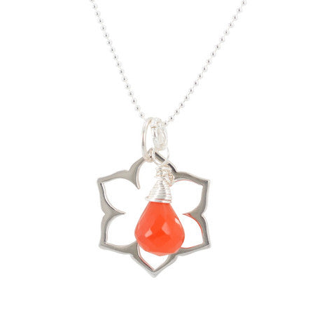 Sacral Chakra Necklace in Carnelian & Sterling Silver