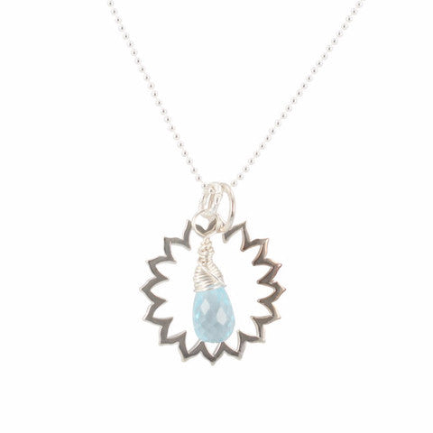 Blue Topaz Throat Chakra Necklace in Sterling Silver - Om Gallery