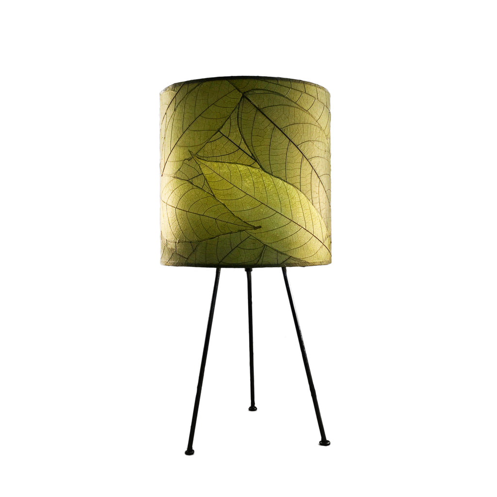Cocoa Leaf Tripod Drum Lamp