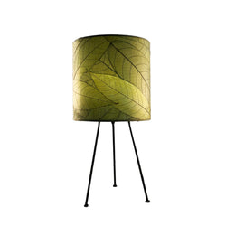 Cocoa Leaf Tripod Drum Lamp, Green