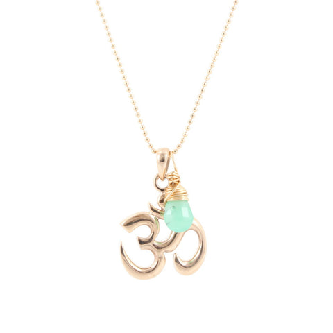 Om Necklace with Chrysoprase Gemstone Briolette