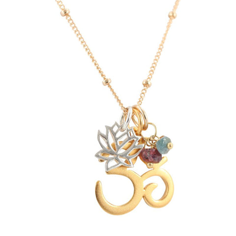 Om, Lotus, and Bauble Necklace
