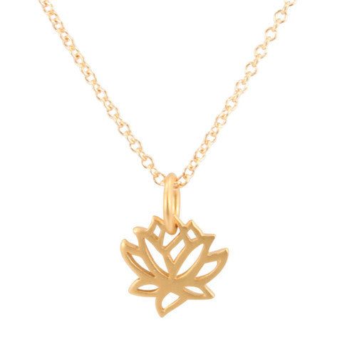 Gold Plated Bronze Delicate and Tiny Cut Out Lotus Flower Necklace - Om Gallery