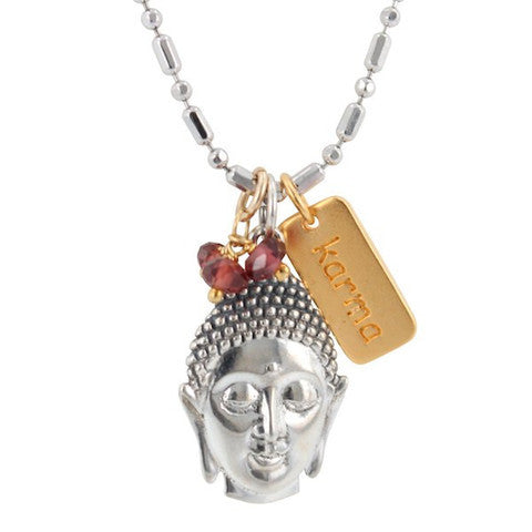 'Enlighten Me' Buddha Necklace with KARMA and Garnet Charms - Om Gallery