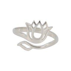 Adjustable Silver Lotus Flower Ring