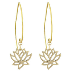 Lotus Flower Dangle Earrings in Bronze
