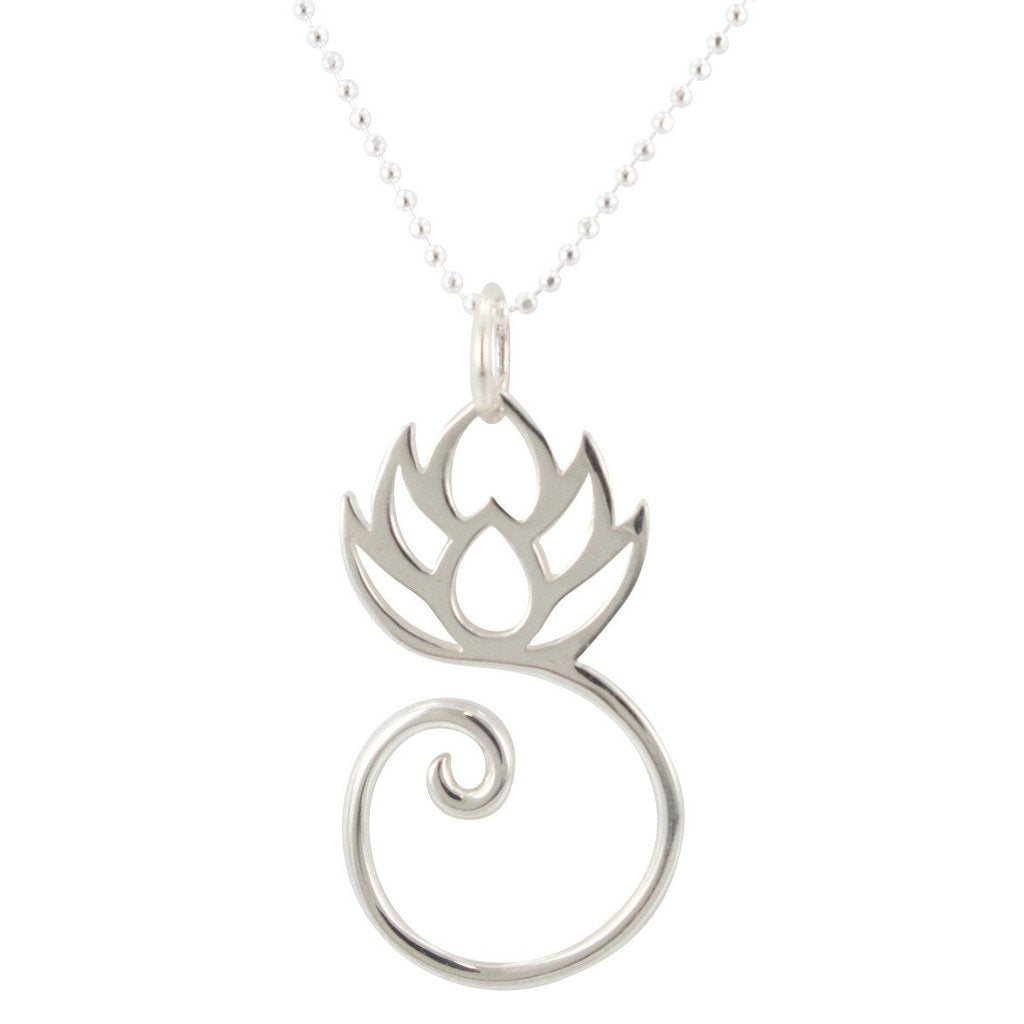 Sterling Silver Lotus Flower Charm Holder Necklace