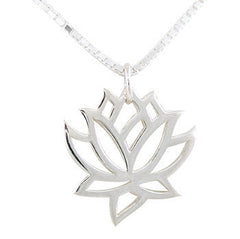 Open Lotus Flower Silver Necklace