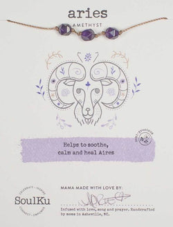 All Signs Zodiac Necklaces, Aries (Amethyst)