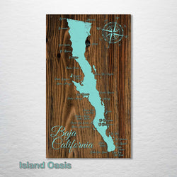 "Baja of California Wood Fired Map - Schmedium (14.5"" x 24""), Island Oasis"