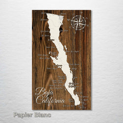 "Baja of California Wood Fired Map - Large (26.25"" x 44.25""), Papier Blanc"