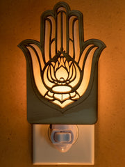 Unique Wooden Nightlights - Hamsa Lotus