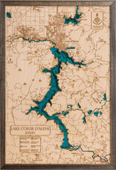 Large Coeur D' Alene 3D Wood Map