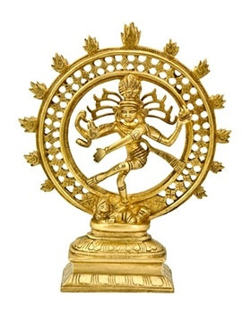"Natraj Dancing Double Ring Brass Statue- 9""H"