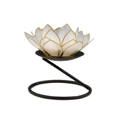 Capiz Lotus Tea Light Holder With Single Stand Set (Circle Base), Pearl