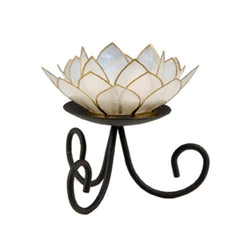 Capiz Lotus Tea Light Holder With Single Stand Set (3 Leg Base)