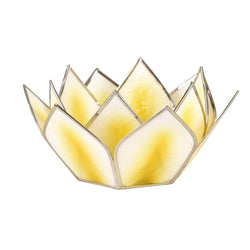 Mini Dahlia Lotus Tea Light Holder, Yellow