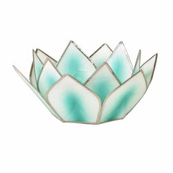 Mini Dahlia Lotus Tea Light Holder, Turquoise