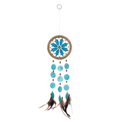 Capiz Shell Chakra Dreamcatchers - Flower, Throat Blue