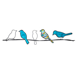 Birds on a Wire Wall Art, Sea Blue