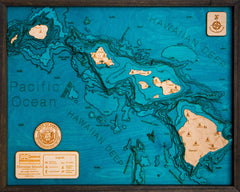 Hawaiian Islands 3D Wood Map