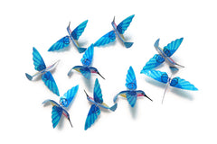 Hummingbird Capiz Garlands - Aqua
