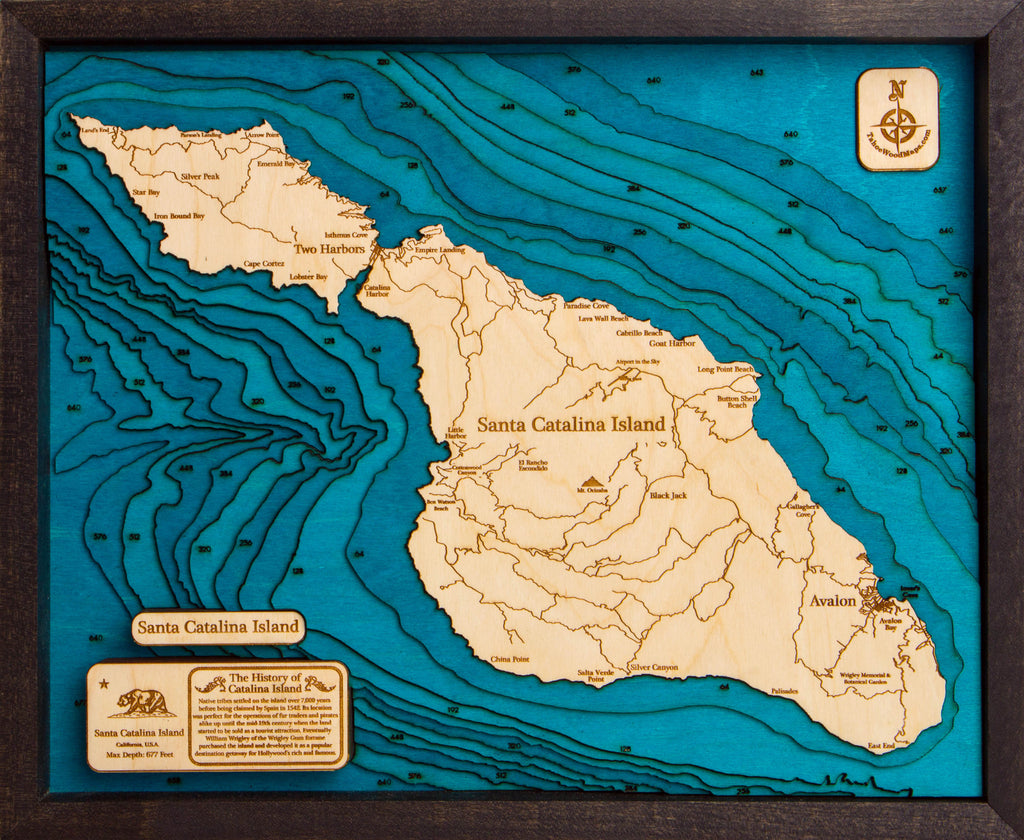 Santa Catalina Island 3D Wood Map