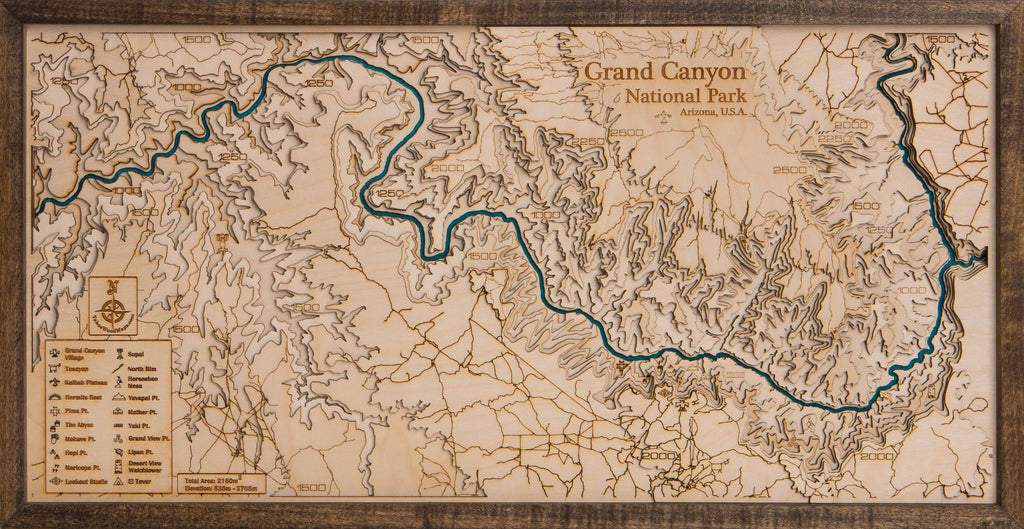 Grand Canyon Large 3D Wood Map