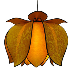 Hanging Blooming Lotus Lamp 2 Ft - Special Order Only, Gold / Hardwire Kit