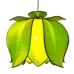 Hanging Blooming Lotus Lamp 2 Ft - Special Order Only, Green / Hardwire Kit